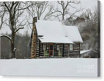 Windy Winter Day At The Cabin Canvas Print by Benanne Stiens