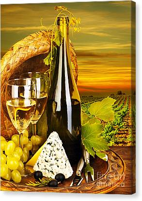 Wine And Cheese Romantic Dinner Outdoor Canvas Print by Anna Om