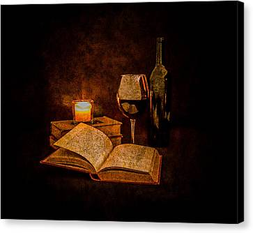 Vino Canvas Print - Red Wine And Classics By Candlelight by Erin Cadigan
