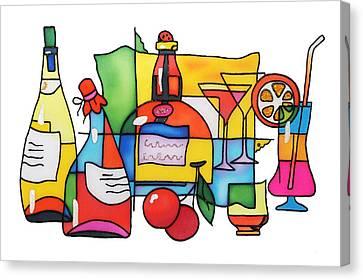 Wine And Cocktail Canvas Print by Tatiana  Antsiferova