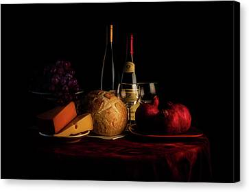 Wine Glasses Canvas Print - Wine And Dine by Tom Mc Nemar