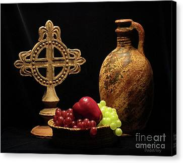 Canvas Print featuring the photograph Wine And Fruit by Dodie Ulery
