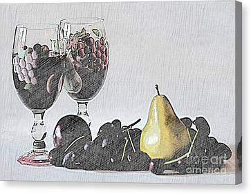 Wine And Fruit Canvas Print by Sherry Hallemeier