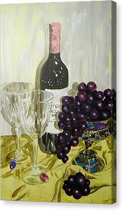 Still Life Of Wine And Grapes Canvas Print - Wine And Grapes Fro Two by Terry Honstead