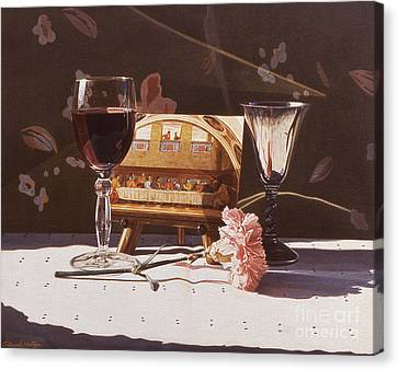 Wine And Last Supper Canvas Print by Daniel Montoya