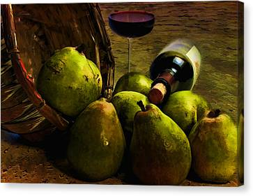 Canvas Print featuring the photograph Wine And Pears by Gary Smith