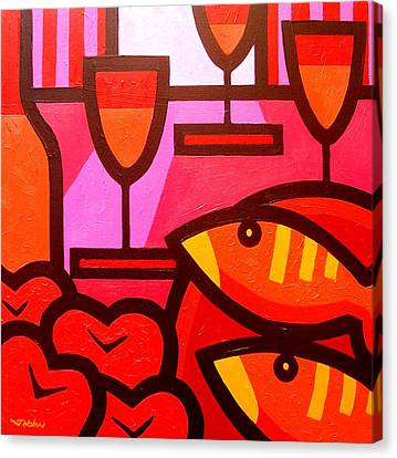 Wine Apples Fish Canvas Print by John  Nolan