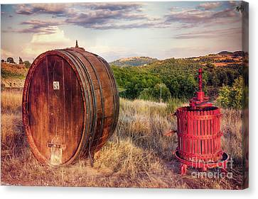 Wine Making Canvas Print - Wine Barrel And Grape Press Along A Country Road by George Oze
