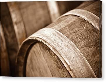 Wine Canvas Print - Wine Barrel In Cellar by Brandon Bourdages
