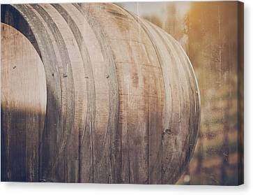 Wine Barrel Outside In Retro Instagram Style Canvas Print by Brandon Bourdages
