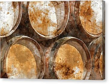 Wine Barrels Canvas Print by Brandon Bourdages