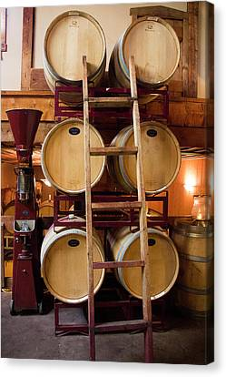 Wine Barrels Canvas Print by Brian Manfra