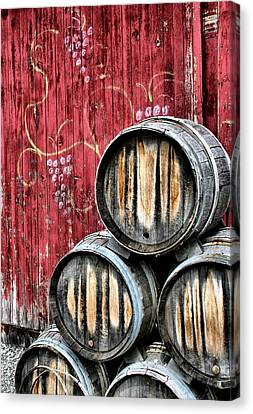 Grape Vines Canvas Print - Wine Barrels by Doug Hockman Photography