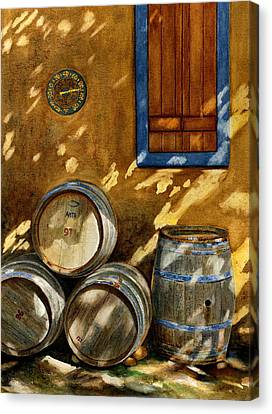 Wine Barrels Canvas Print by Karen Fleschler