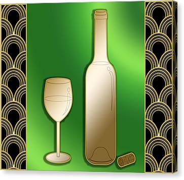 Canvas Print featuring the digital art Wine Bottle And Glass - Chuck Staley by Chuck Staley