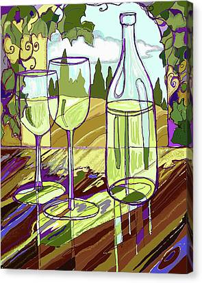 Grape Vine Canvas Print - Wine Bottle In Window by Peggy Wilson