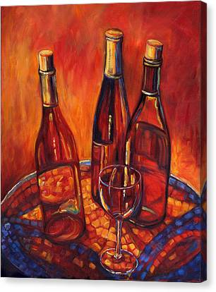 Wine Bottle Mosaic Canvas Print by Peggy Wilson