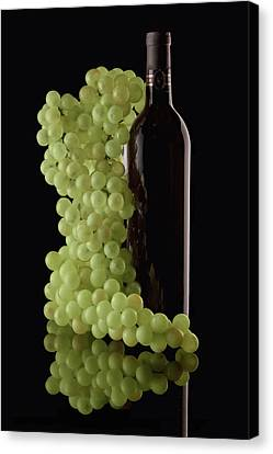 Wine Bottle With Grapes Canvas Print by Tom Mc Nemar