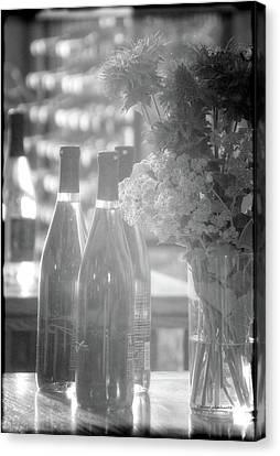 Wine Bottles Bw Vertical Canvas Print