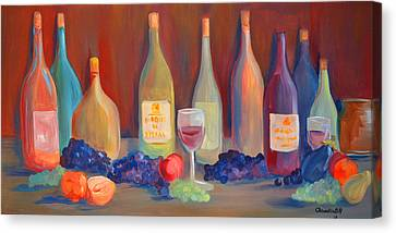Still Life Of Wine And Grapes Canvas Print - Wine Bottles by Claudia