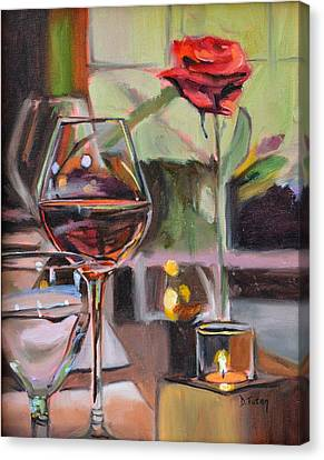 Wine By Candlelight Canvas Print by Donna Tuten