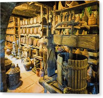 Wine Cellar And Press Canvas Print by Roy Pedersen