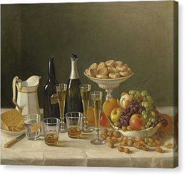 Wine, Cheese, And Fruit Canvas Print by John F Francis