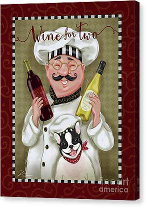 Wine Chef-wine For Two Canvas Print