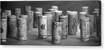 Wine Cork Panorama In Black And White Canvas Print by Tom Mc Nemar