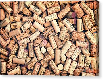 Tasting Canvas Print - Wine Corks by Delphimages Photo Creations