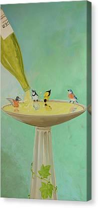 Wine Country Bird Bath Canvas Print by Deb Breton