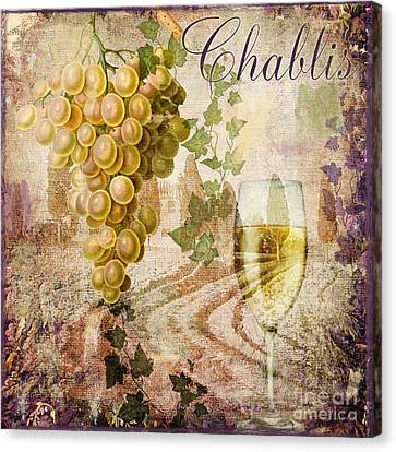 Glass Of Wine Canvas Print - Wine Country Chablis by Mindy Sommers
