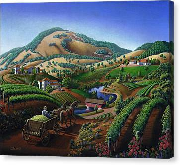 Old Wine Country Landscape - Delivering Grapes To Winery - Vintage Americana Canvas Print by Walt Curlee