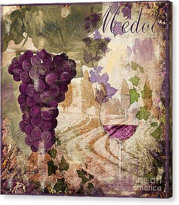 Glass Of Wine Canvas Print - Wine Country Medoc by Mindy Sommers