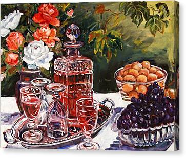 Wine Decanter Still Life Canvas Print by Alexandra Maria Ethlyn Cheshire