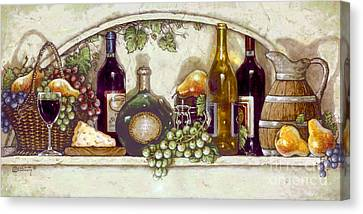 Wine Fruit N Cheese Pantry Canvas Print by Janet  Kruskamp