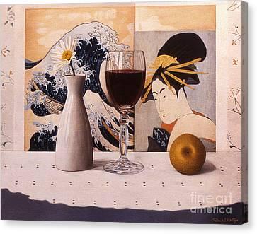 Wine Glas And Japanese Prints Canvas Print by Daniel Montoya