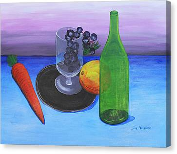 Wine Glass And Fruits Canvas Print by M Valeriano