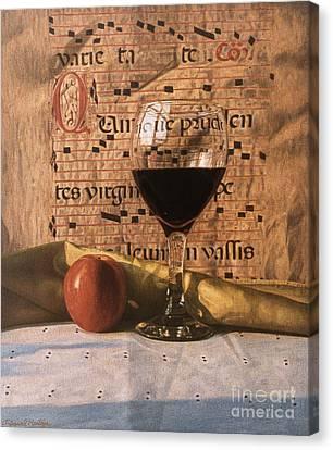 Wine Glass And Manuscript Canvas Print by Daniel Montoya