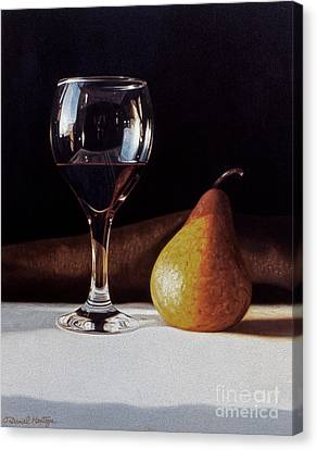 Wine Glass And Pear Canvas Print by Daniel Montoya