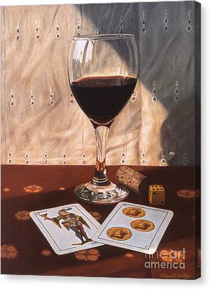 Wine Glass And Playing Cards Canvas Print by Daniel Montoya