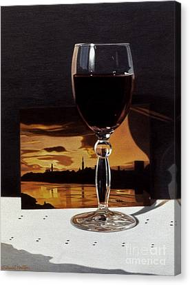 Wine Glass And Postcard Of Florence Canvas Print by Daniel Montoya