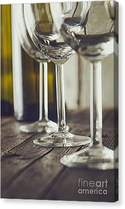 Wine Service Canvas Print - Wine Glass On Wood by Mythja Photography