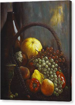 Peaches Canvas Print - Wine Goblet by Harvie Brown
