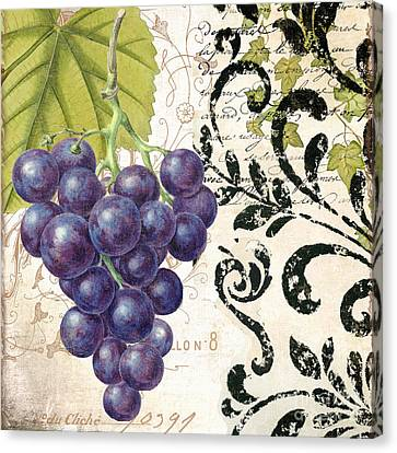 Wine Grapes And Damask Canvas Print by Mindy Sommers