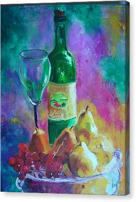Wine Grapes And Pears Canvas Print by Virgilla Lammons