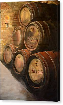 Canvas Print featuring the painting Wine In The Barrels - Chateau Meichtry by Jan Dappen