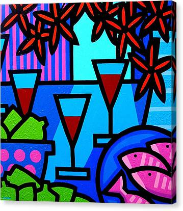 Glass Bottle Canvas Print - Wine Limes Flowers And Fish by John  Nolan