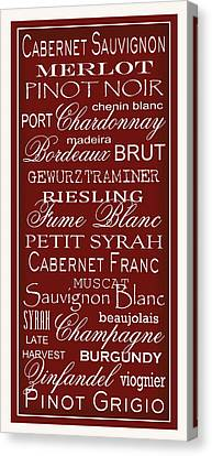 Wine List Red Canvas Print by Rebecca Gouin
