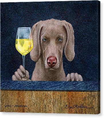 Wine Bar Canvas Print - Wine-maraner by Will Bullas